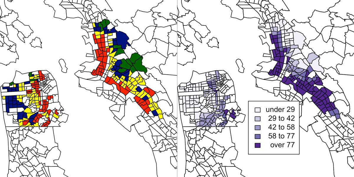 Map of the Bay Area with color-coded information