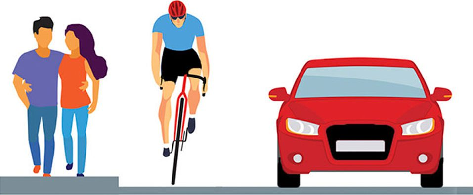 An illustration of people walking and cycling near a roadway