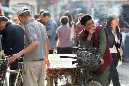 Man smoking in China