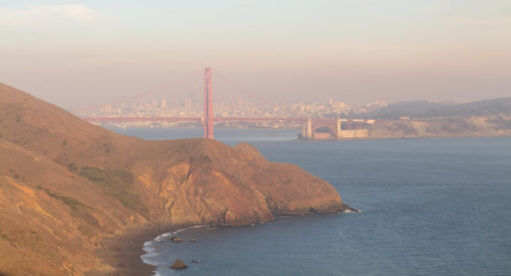 San Francisco is covered with smoke instead of fog. A view from Bonita Lighthouse in the Marin Headlands.