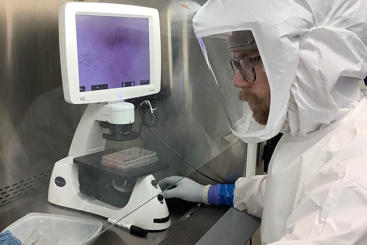 Postdoctoral fellow Erik van Dis handles SARS-CoV-2 in the BSL3 lab at UC Berkeley